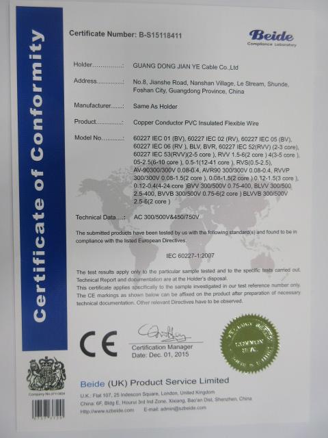 Copper Conductor PVC Insulated Flexible Wire CE